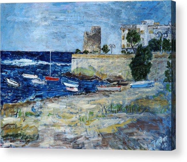 Sea Sky Sardinia Italy Boats Castle Beach Blue Acrylic Print featuring the painting Santa Lucia by Joan De Bot