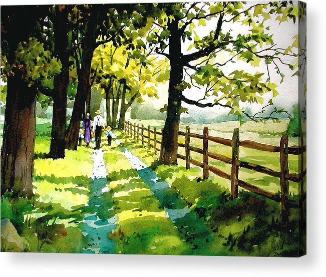Amish Acrylic Print featuring the painting Sunday Afternoon by Faye Ziegler