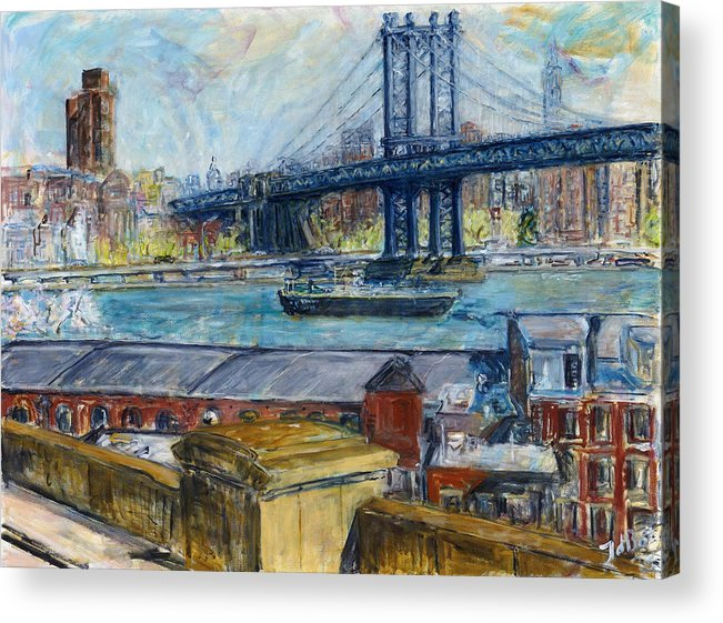 New York Manhattan Bridge Water River Boat Warehouses Acrylic Print featuring the painting View from Brooklyn Bridge by Joan De Bot