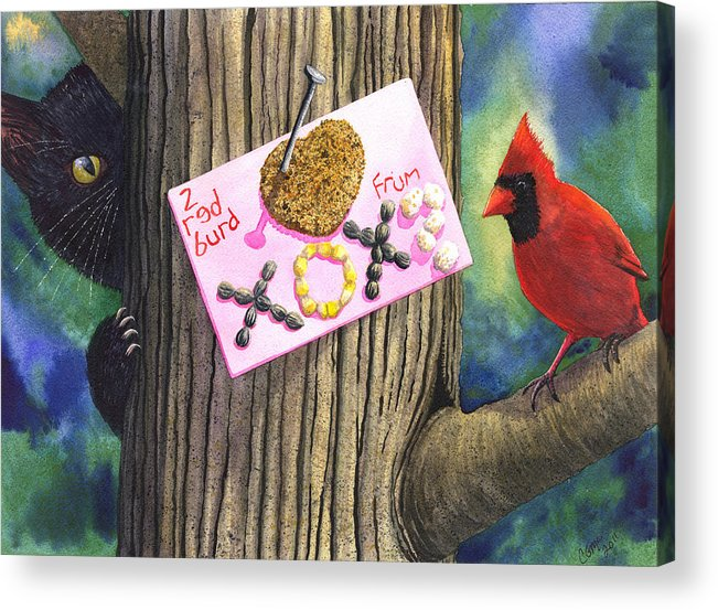 Cardinal Acrylic Print featuring the painting 2 Red Burd by Catherine G McElroy