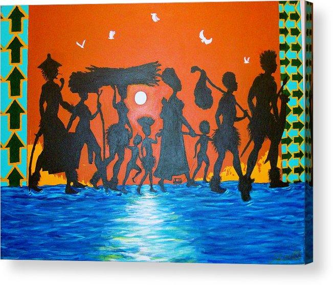 Malik Seneferu Acrylic Print featuring the painting Uhuru Series by Malik Seneferu