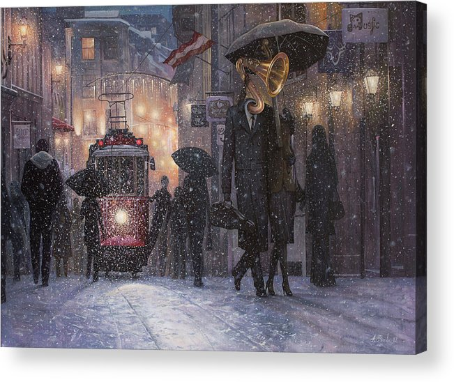 Music Acrylic Print featuring the painting A Midwinter Night's Dream by Adrian Borda