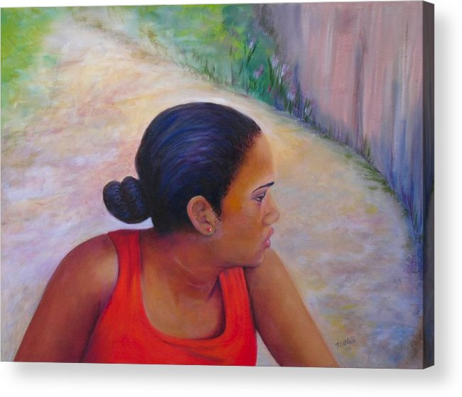 Portrait Acrylic Print featuring the painting A Penny for Your Thoughts by Merle Blair