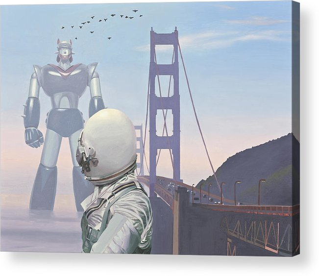 Astronaut Acrylic Print featuring the painting A Very Large Robot by Scott Listfield
