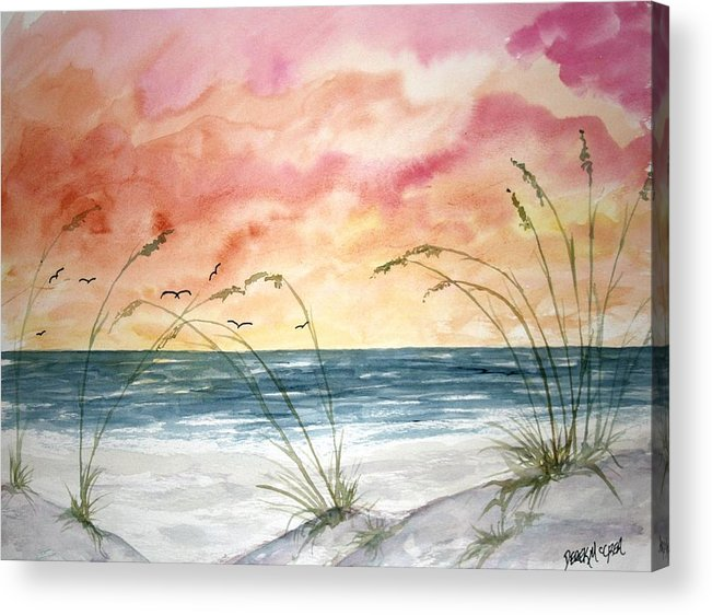 Abstract Acrylic Print featuring the painting Abstract Beach Painting by Derek Mccrea