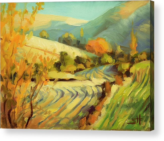 Country Acrylic Print featuring the painting After Harvest by Steve Henderson