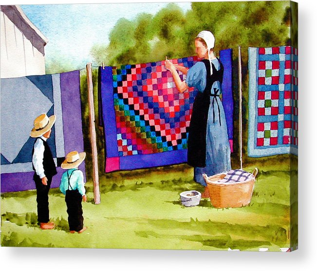 Amish Acrylic Print featuring the painting Airing the Quilts by Faye Ziegler
