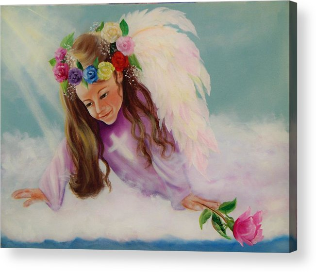 Oil Painting Acrylic Print featuring the painting Angel Above by Joni McPherson