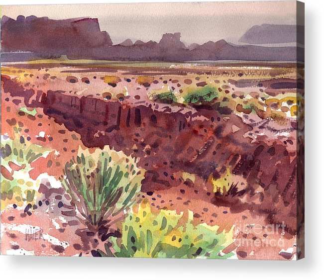 Arroyo Acrylic Print featuring the painting Arizona Arroyo by Donald Maier