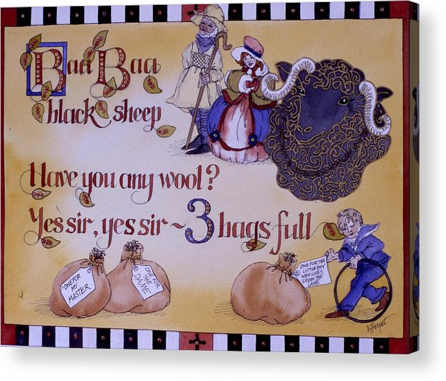 Nursery Rhyme Acrylic Print featuring the painting Baa Baa Black Sheep by Victoria Heryet