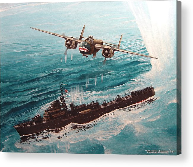 Military Acrylic Print featuring the painting Bat Outta Hell by Marc Stewart