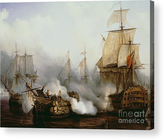 Battle Of Trafalgar By Louis Philippe Crepin Acrylic Print featuring the painting Battle of Trafalgar by Louis Philippe Crepin