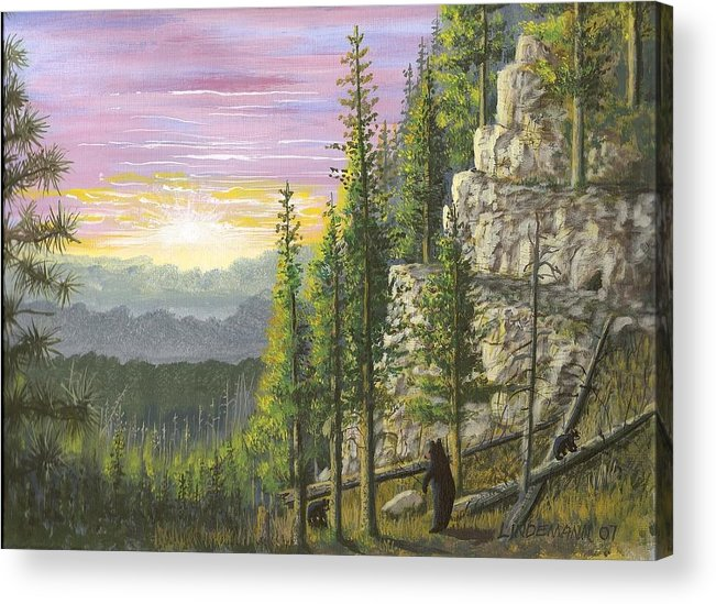 Bears Acrylic Print featuring the painting Bear Mountain by Don Lindemann