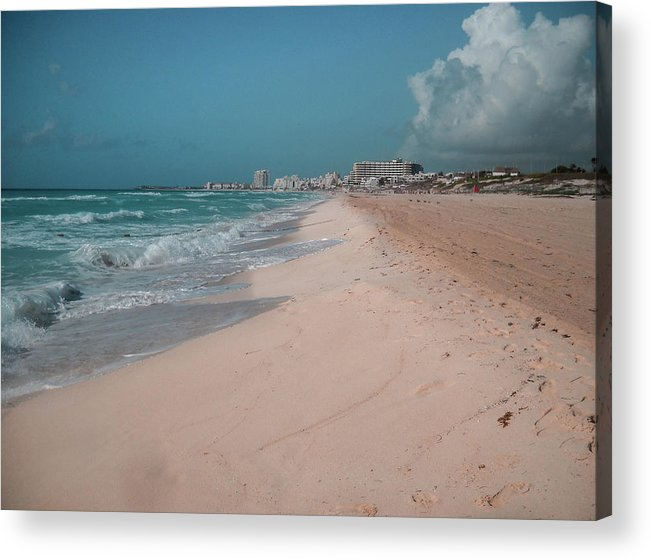 Beach Acrylic Print featuring the digital art Beautiful beach in Cancun, Mexico by Nicolas Gabriel Gonzalez