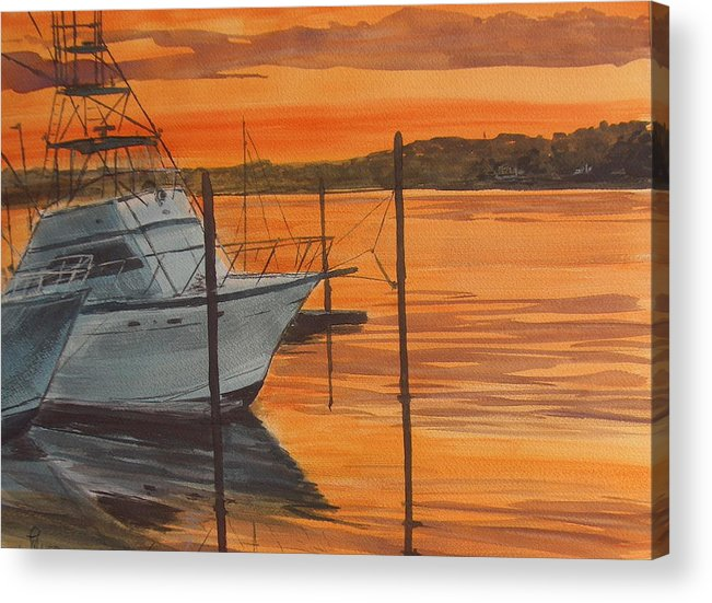Sunset Acrylic Print featuring the painting Belmar Sunset by Pete Maier