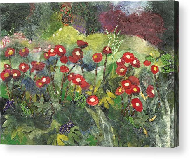 Limited Edition Prints Acrylic Print featuring the painting Blossom in Red by Nira Schwartz
