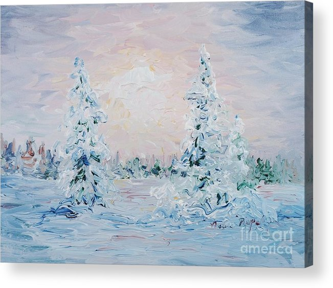 Landscape Acrylic Print featuring the painting Blue Winter by Nadine Rippelmeyer