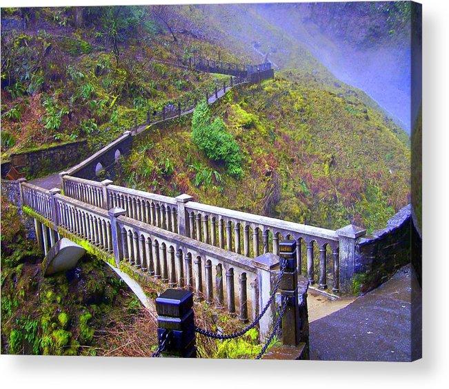 Bridge Acrylic Print featuring the photograph Bridge at Multnomah Falls by Lisa Rose Musselwhite