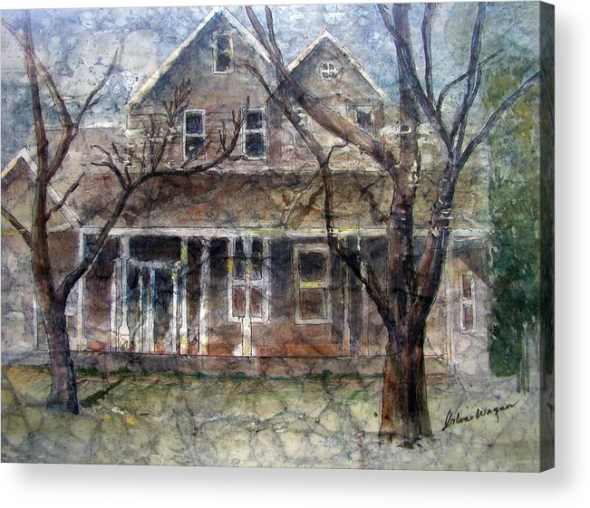 House Acrylic Print featuring the mixed media Brown Batik House by Suzanne Blender