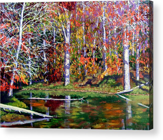 Fall Acrylic Print featuring the painting Brown County in Fall by Stan Hamilton