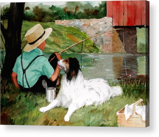 Amish Acrylic Print featuring the painting Buddies by Faye Ziegler
