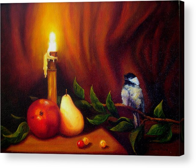 Chickadee Acrylic Print featuring the painting Candle Light Melody by Valerie Aune