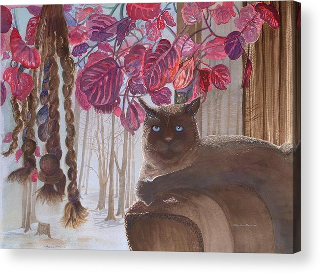 Cat Acrylic Print featuring the painting Cat On A Foggy Day by Rebecca Marona