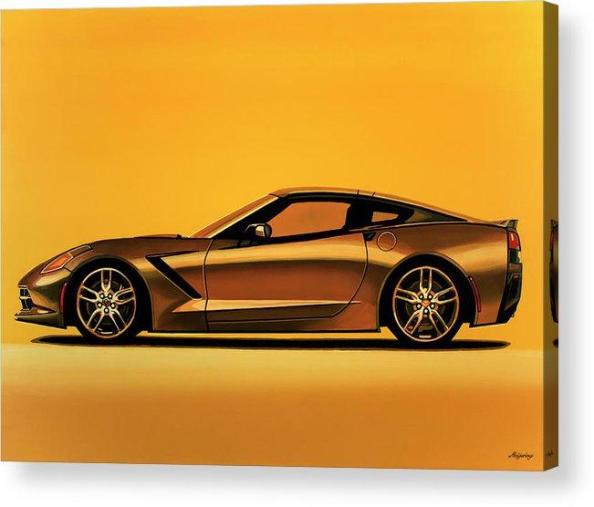 Chevrolet Corvette Stingray Acrylic Print featuring the painting Chevrolet Corvette Stingray 2013 Painting by Paul Meijering