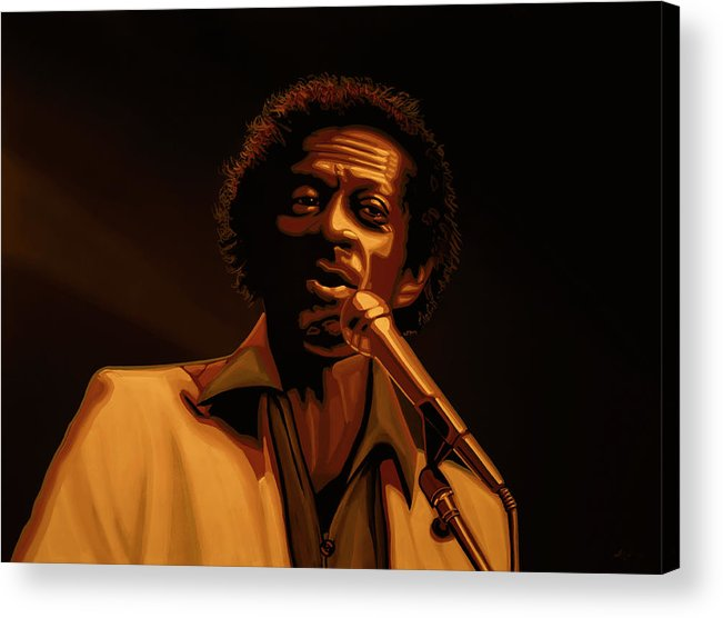 Chuck Berry Acrylic Print featuring the mixed media Chuck Berry Gold by Paul Meijering