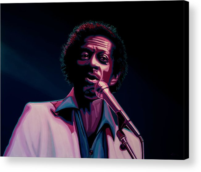 Chuck Berry Acrylic Print featuring the painting Chuck Berry by Paul Meijering