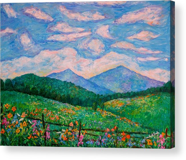 Kendall Kessler Acrylic Print featuring the painting Cloud Swirl over The Peaks of Otter by Kendall Kessler