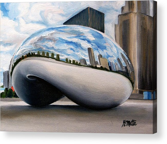 Chicago Acrylic Print featuring the painting Cloudy Bean by Gretchen Matta