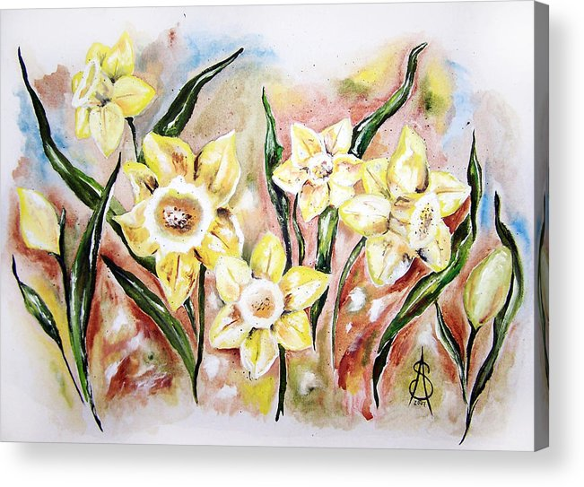 Floral Acrylic Print featuring the painting Daffodil Drama by Amanda Sanford