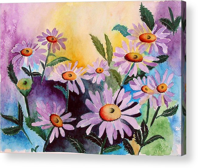 Daisies Acrylic Print featuring the painting Daisies by Mary Gaines