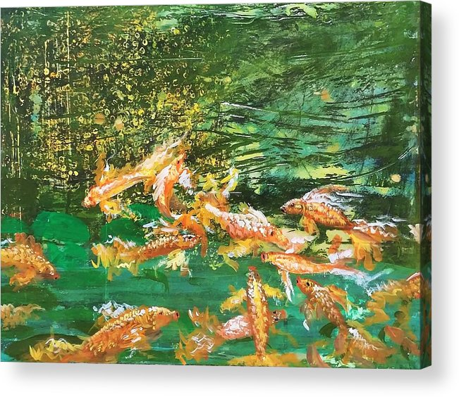 Gold Fish Acrylic Print featuring the painting Dance of Golden Angels by J Bauer