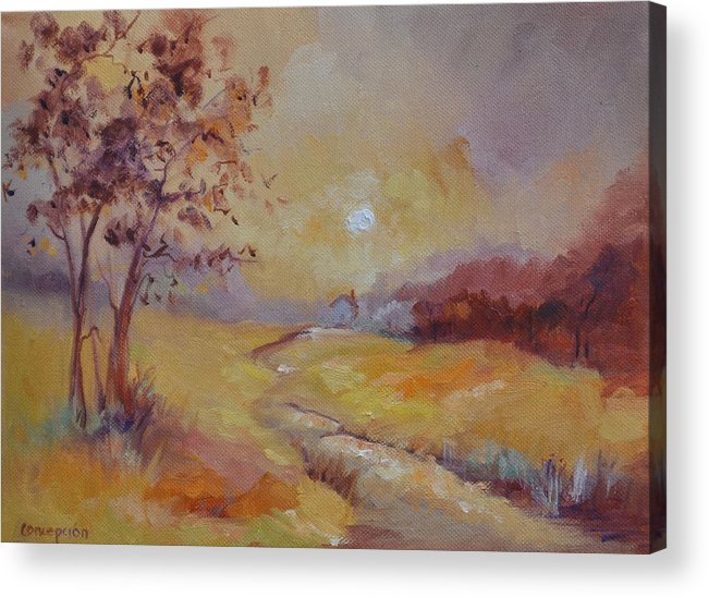 Evening Landscape Acrylic Print featuring the painting Day's End by Ginger Concepcion