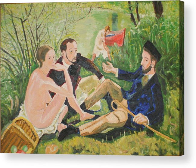 Acrylic Print featuring the painting Dejeuner sur l'herbe by Biagio Civale