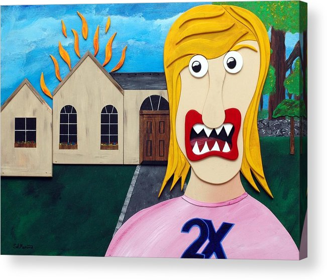 Married Twice-failed Twice Acrylic Print featuring the painting Double-Ex by Sal Marino
