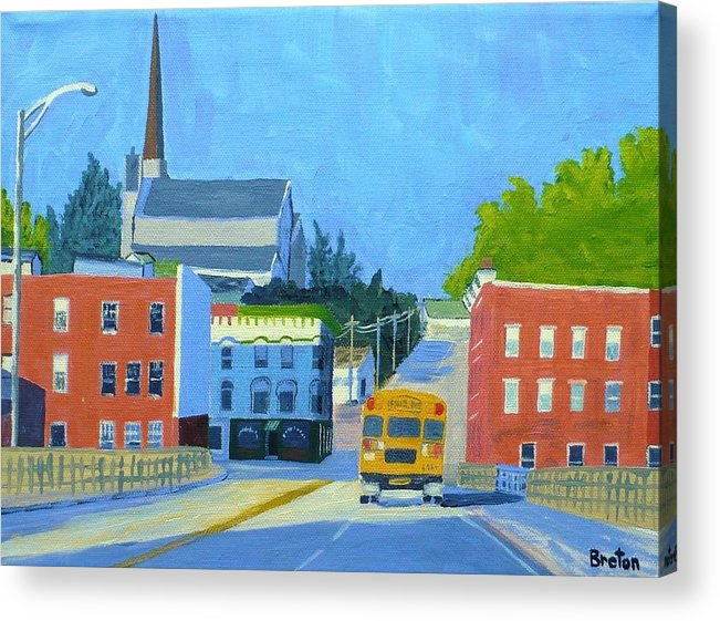 Landscape Acrylic Print featuring the painting Downtown With School Bus   by Laurie Breton