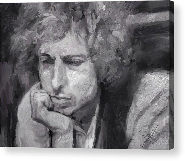 Bob Dylan Music Portrait Musician Rock Acrylic Print featuring the digital art Dylan by Scott Waters