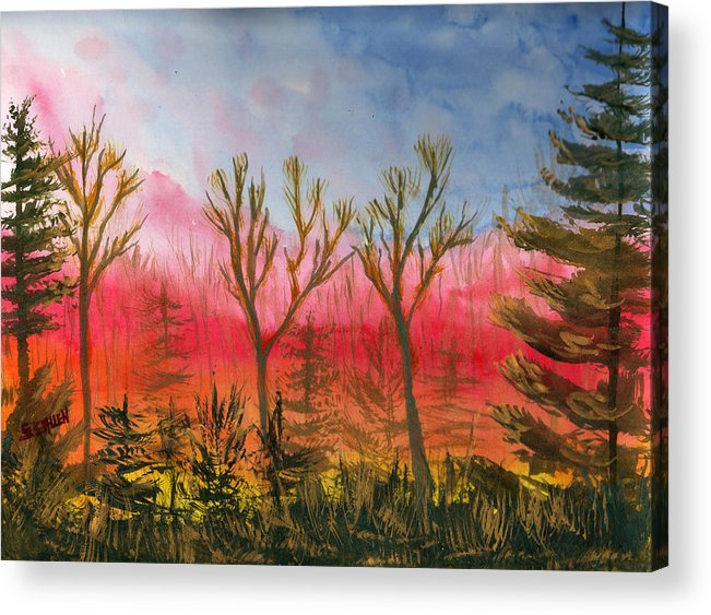 Sunset Acrylic Print featuring the painting Fiery Sunset by Sharon E Allen