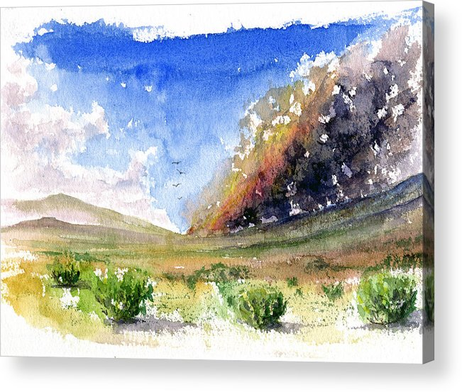 Fire Acrylic Print featuring the painting Fire in the Desert 1 by John D Benson