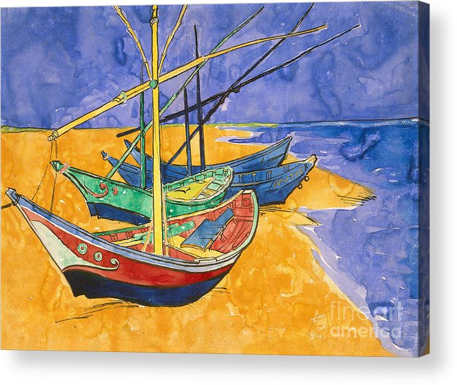 Fishing Acrylic Print featuring the painting Fishing Boats on the Beach at Saintes Maries de la Mer by Vincent Van Gogh