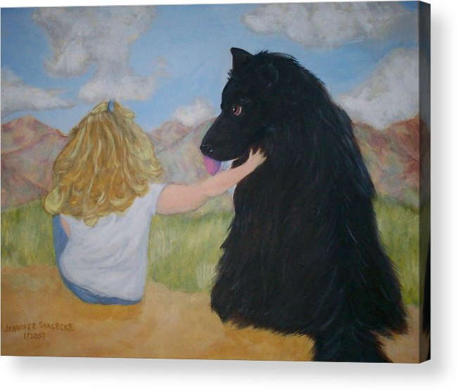 Dog Acrylic Print featuring the painting Forever Friends by Jennifer Skalecke