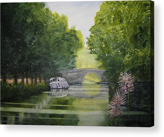 Landscape Acrylic Print featuring the painting French Canal by Shirley Braithwaite Hunt