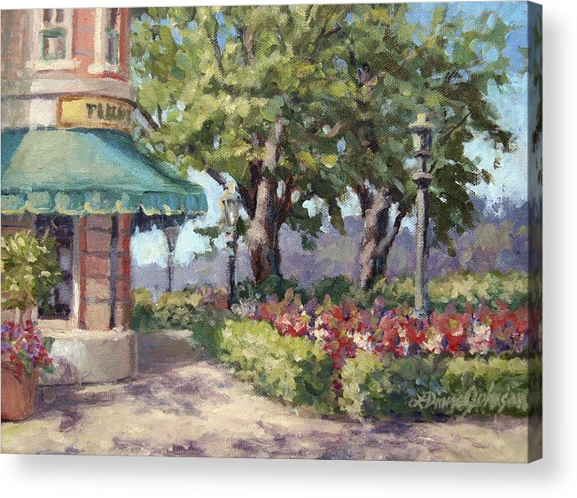Epcot Acrylic Print featuring the painting French Stroll by L Diane Johnson