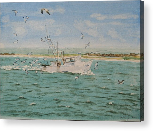 Seascape Acrylic Print featuring the painting Full Nets by Monika Degan