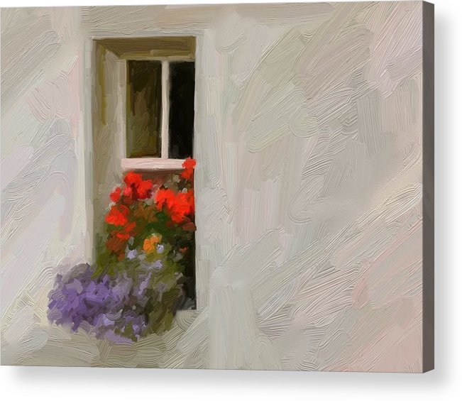 Art Painting Landscape Acrylic Print featuring the digital art Galway Window by Scott Waters
