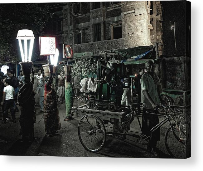 Generator Wala Acrylic Print featuring the photograph Generator Man, Bhubaneswar 2010 by Chris Honeyman