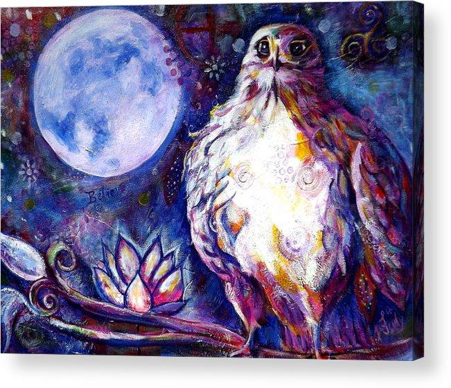 Goddess Acrylic Print featuring the painting Goddes Hawk by Goddess Rockstar